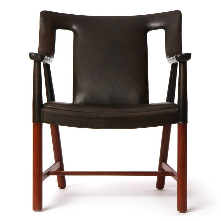 1950s Danish Leather Wrapped Armchair by Ludvig Pontopiddan For Sale 2