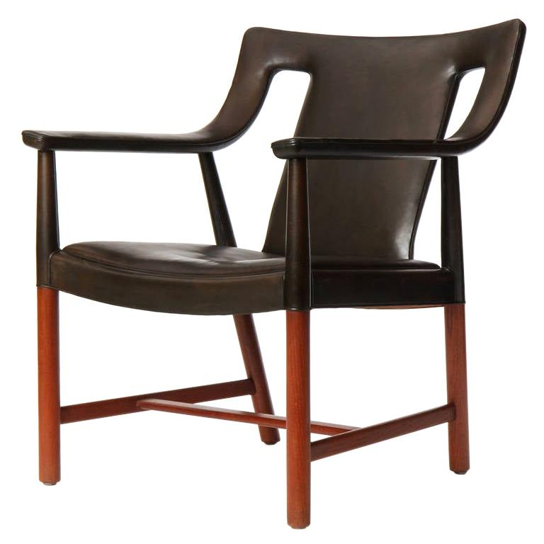 1950s Danish Leather Wrapped Armchair by Ludvig Pontopiddan For Sale