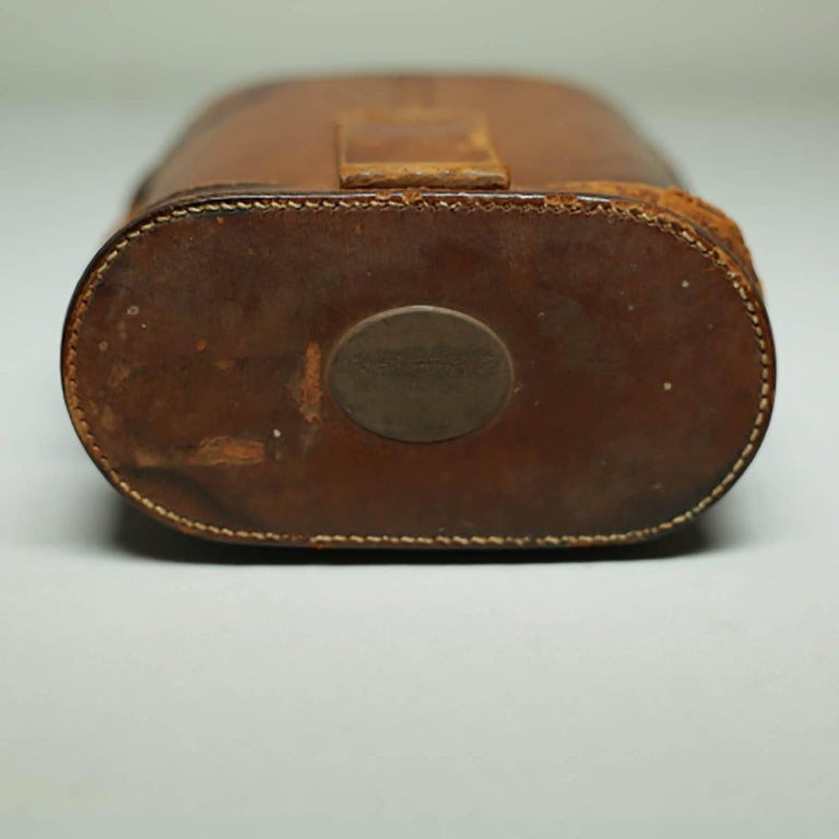 Leather Wrapped Binoculars and Leather Case, circa 1940s-1950s For Sale 5