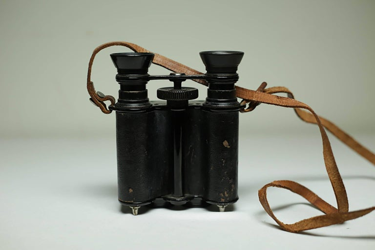 20th Century Leather Wrapped Binoculars and Leather Case, circa 1940s-1950s For Sale