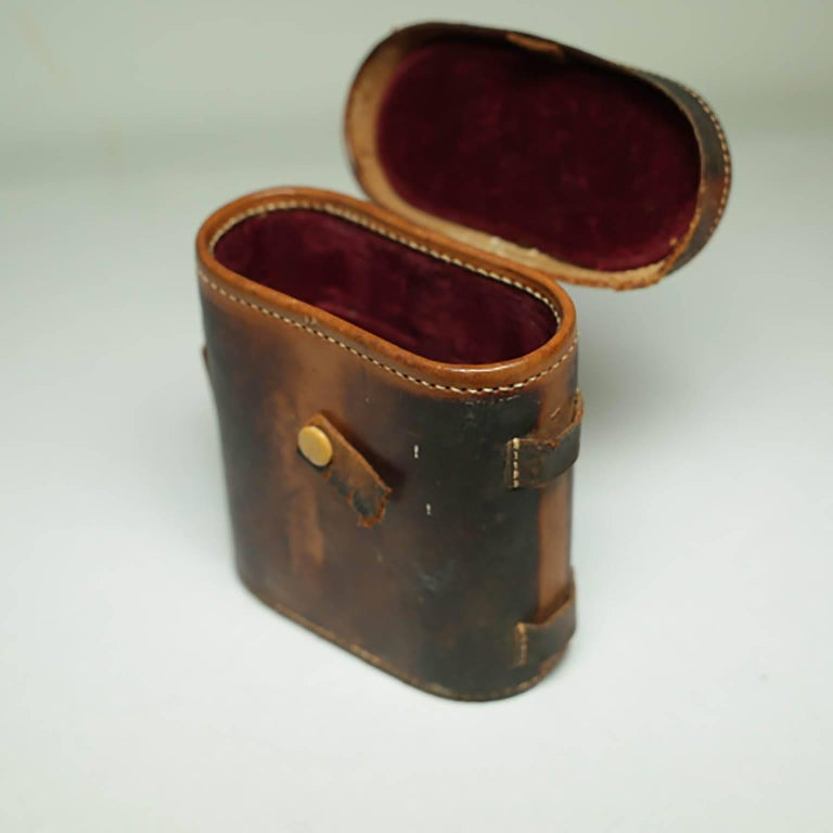 Leather Wrapped Binoculars and Leather Case, circa 1940s-1950s For Sale 1
