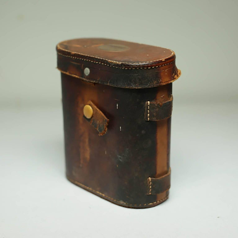 Leather Wrapped Binoculars and Leather Case, circa 1940s-1950s For Sale 2