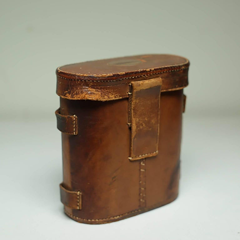 Leather Wrapped Binoculars and Leather Case, circa 1940s-1950s For Sale 3