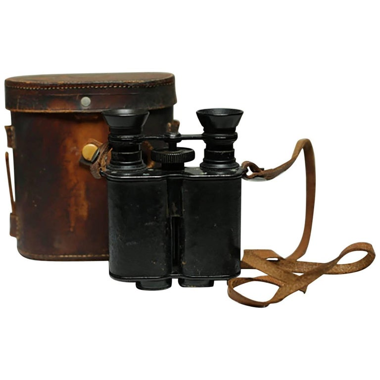Leather Wrapped Binoculars and Leather Case, circa 1940s-1950s For Sale