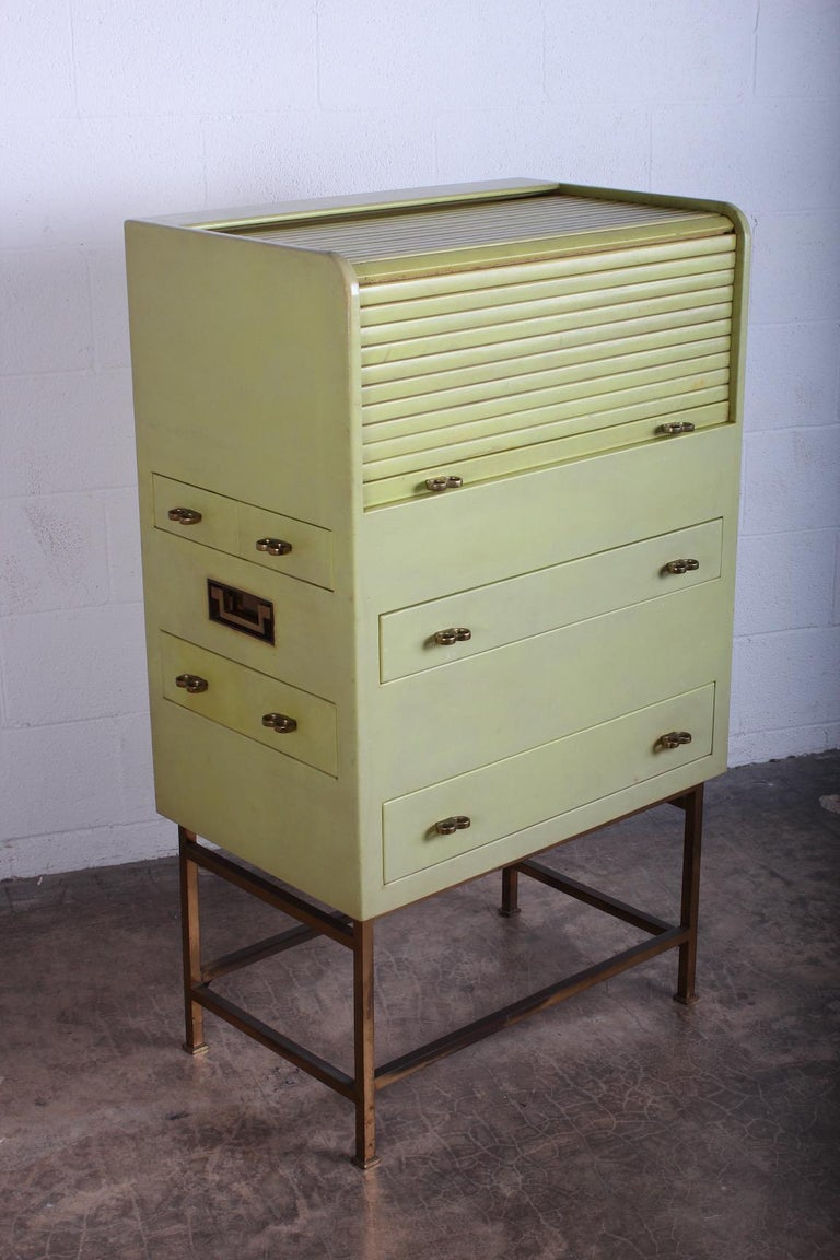 Leather Wrapped Cabinet by Edward Wormley for Dunbar For Sale 9