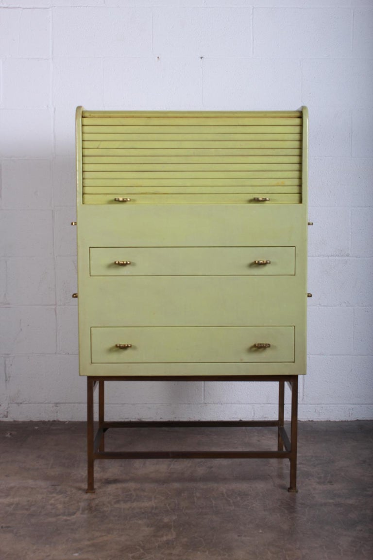 Leather Wrapped Cabinet by Edward Wormley for Dunbar In Good Condition For Sale In Dallas, TX