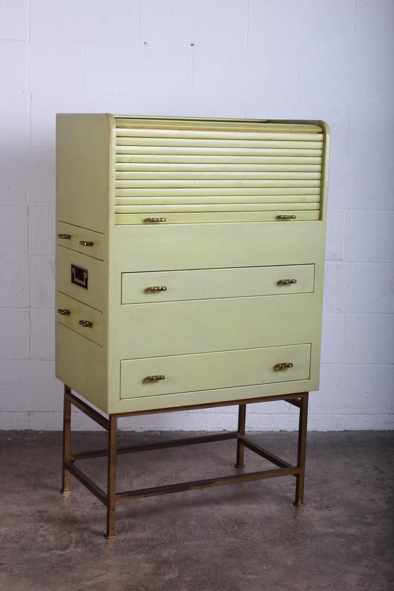 Mid-20th Century Leather Wrapped Cabinet by Edward Wormley for Dunbar For Sale