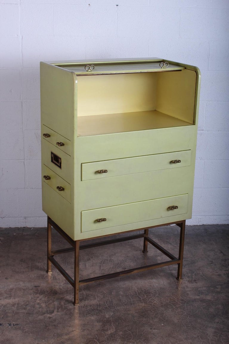 Leather Wrapped Cabinet by Edward Wormley for Dunbar For Sale 2