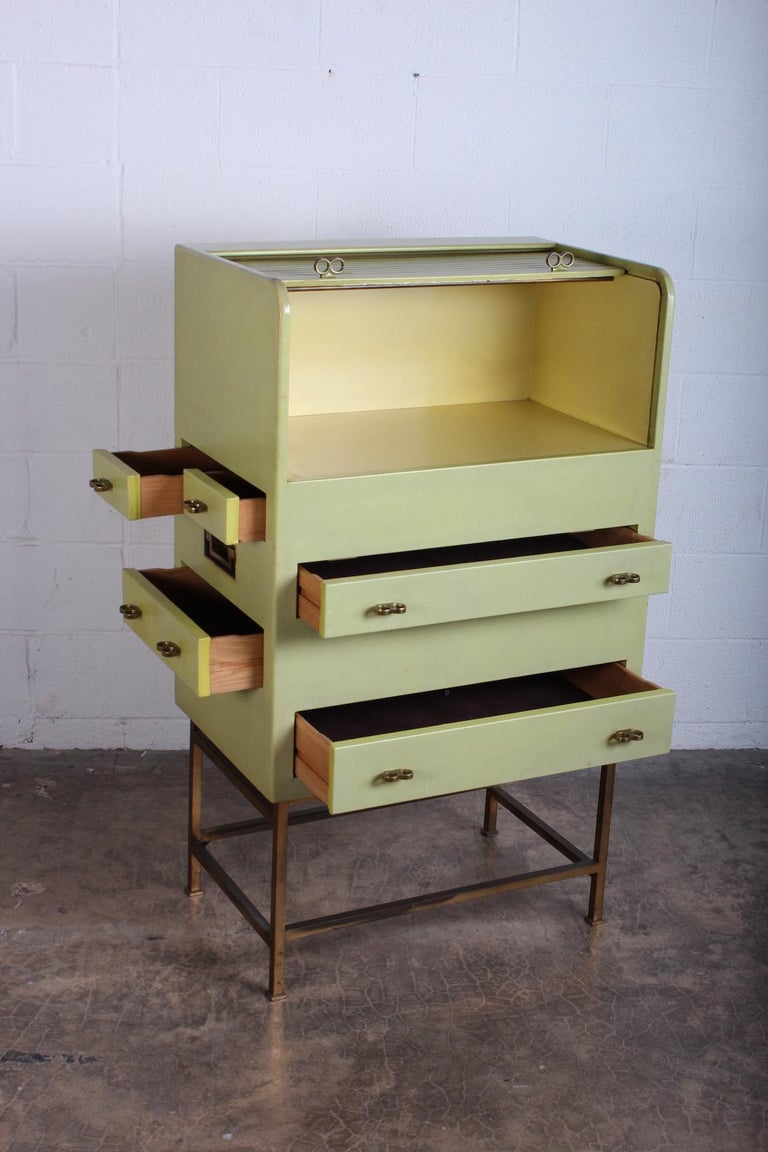 Leather Wrapped Cabinet by Edward Wormley for Dunbar For Sale 3