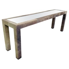 Leather Wrapped Parsons Style Console Table with Mirror Top