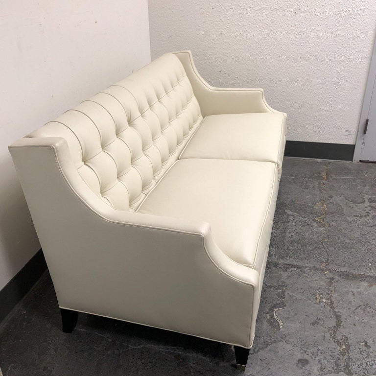 Pleasant Leathercraft 1410 Harper White Leather Sofa For Sale At 1Stdibs Bralicious Painted Fabric Chair Ideas Braliciousco