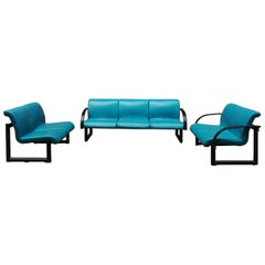 Leatherette and Inox Steel Black and Blue Sofas from 1980s