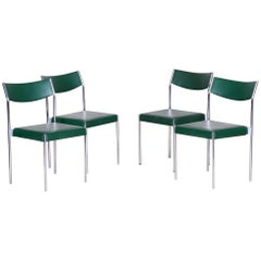 Leatherette Chrome Midcentury Chairs, 4 Pieces, 1950s, Well Preserved Condition