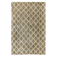 Leaves Design Hand Knotted Vintage Anatolian Rug in Beige and Green Color
