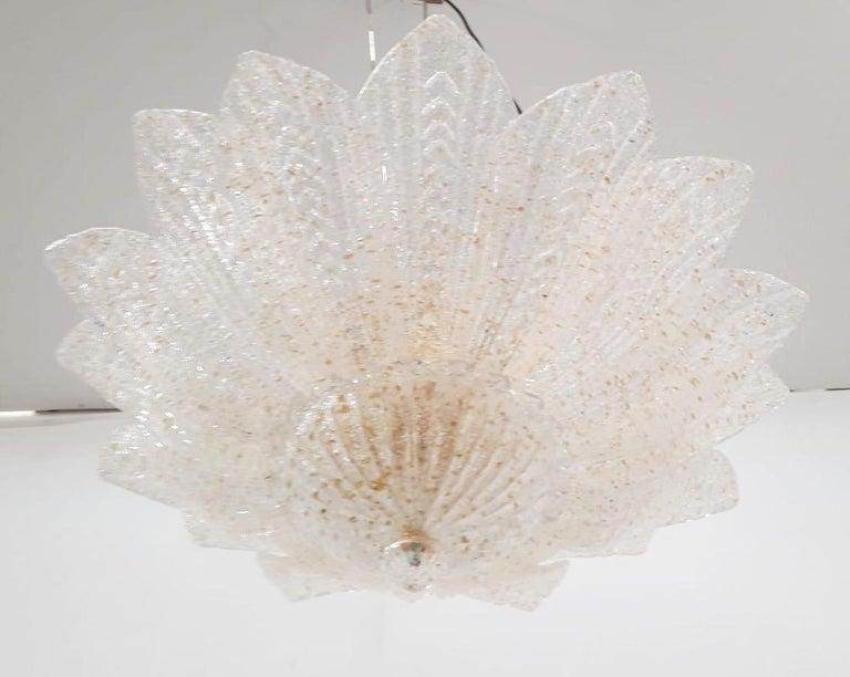 Blown Glass Leaves Flushmount by Fabio Ltd For Sale