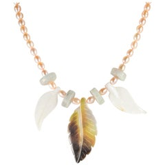 Leaves Pearl Mother Pearl Aquamarine 18 Karat Yellow Gold Tribal Leaf Necklace