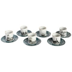 Lebanon, Coffee Set with Six Contemporary Porcelains with Decorative Design