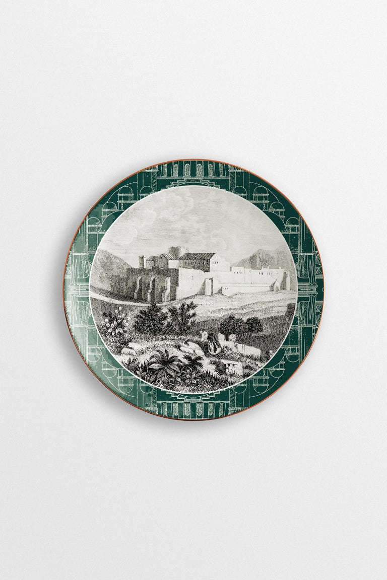 A striking collection of six designs that will enrich both a Classic and a modern home with the unique combination of vintage images and strikingly warm colors, this set comprises the six porcelain dinner plates of the Lebanon collection. In them, a