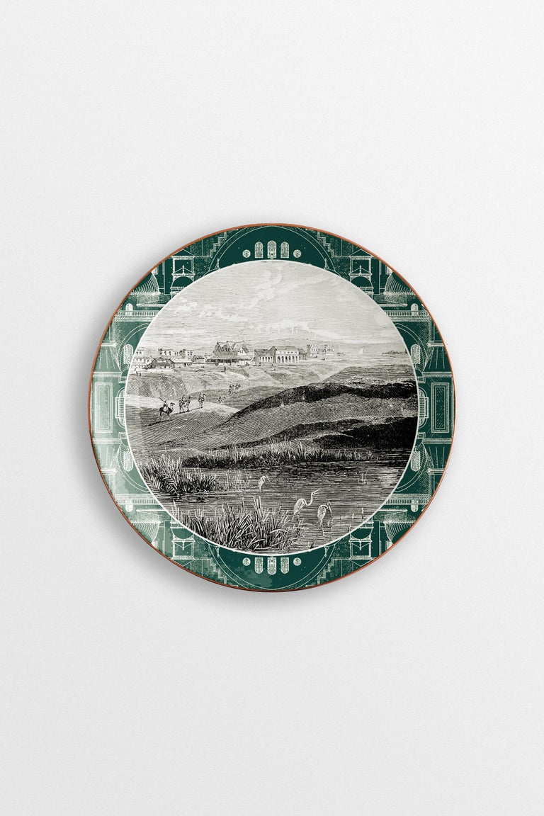 Lebanon, Six Contemporary Porcelain Dinner Plates with Decorative Design In New Condition For Sale In Milan, IT