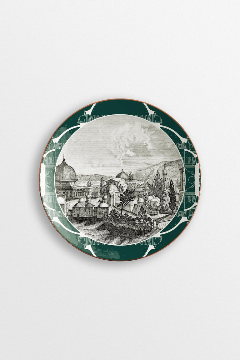 Lebanon, Six Contemporary Porcelain Dinner Plates with Decorative Design For Sale 1