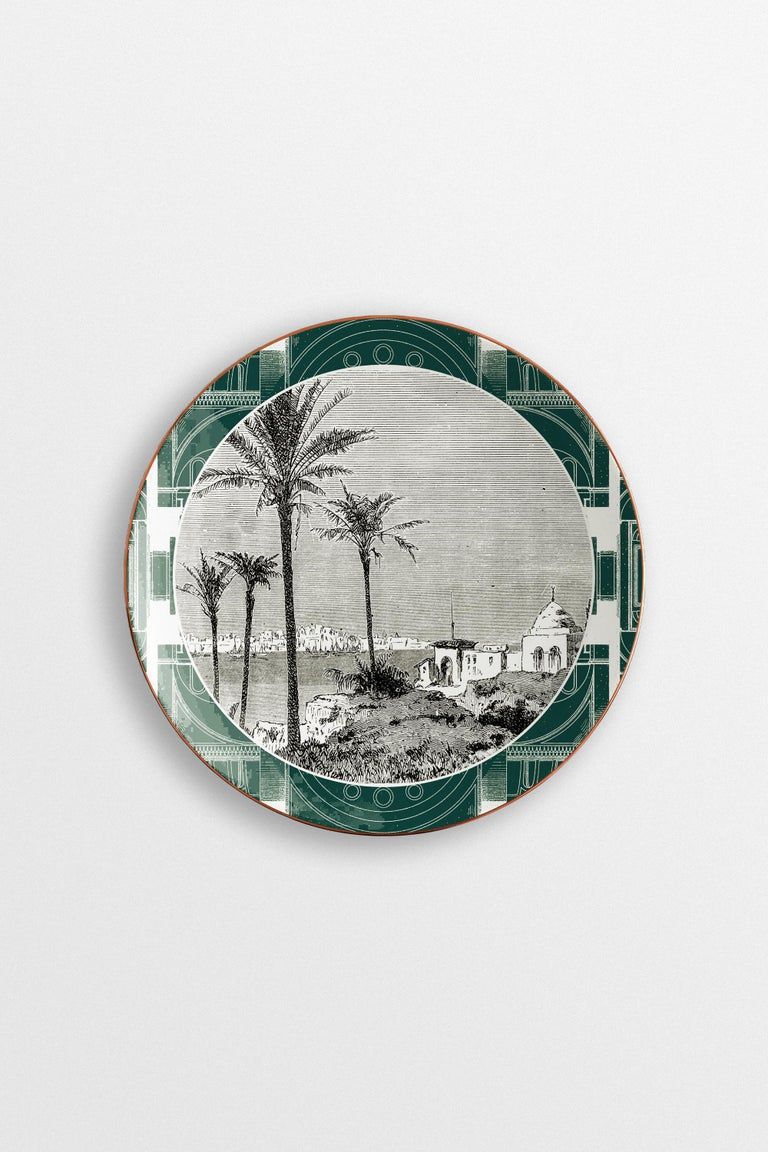 Lebanon, Six Contemporary Porcelain Dinner Plates with Decorative Design For Sale 2