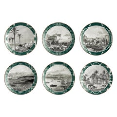Lebanon, Six Contemporary Porcelain Dinner Plates with Decorative Design