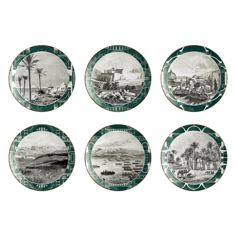 Lebanon, Six Contemporary Porcelain Dinner Plates with Decorative Design For Sale