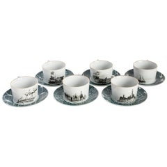 Lebanon, Tea Set with Six Contemporary Porcelains with Decorative Design