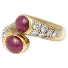 Lebeau Ruby and Diamond Gold Ring