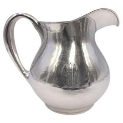 Lebolt Hand Beaten Sterling Silver Pitcher Ewer in Arts & Crafts Style
