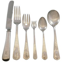 Lebolt Sterling Silver Flatware Set Hand Wrought Chicago 40 Pc J Monogram Dinner