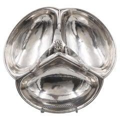 Lebolt Sterling Silver Hand Hammered Condiments Basket Bowl Arts & Crafts Style