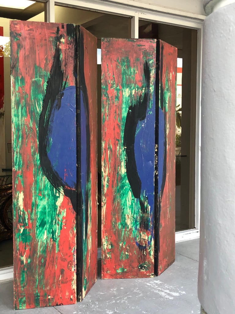 An artistic folding screen done in the abstract expressionist style on both sides. Signed and dated '09. This is a pair of double panel screens. 4 panels total. Each panel is 18