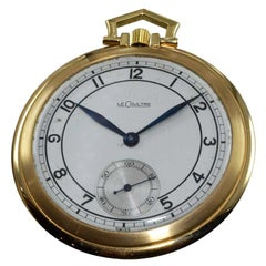 LeCoultre 18 Karat Gold Midcentury Pocket Watch Original Sterling Silver Dial