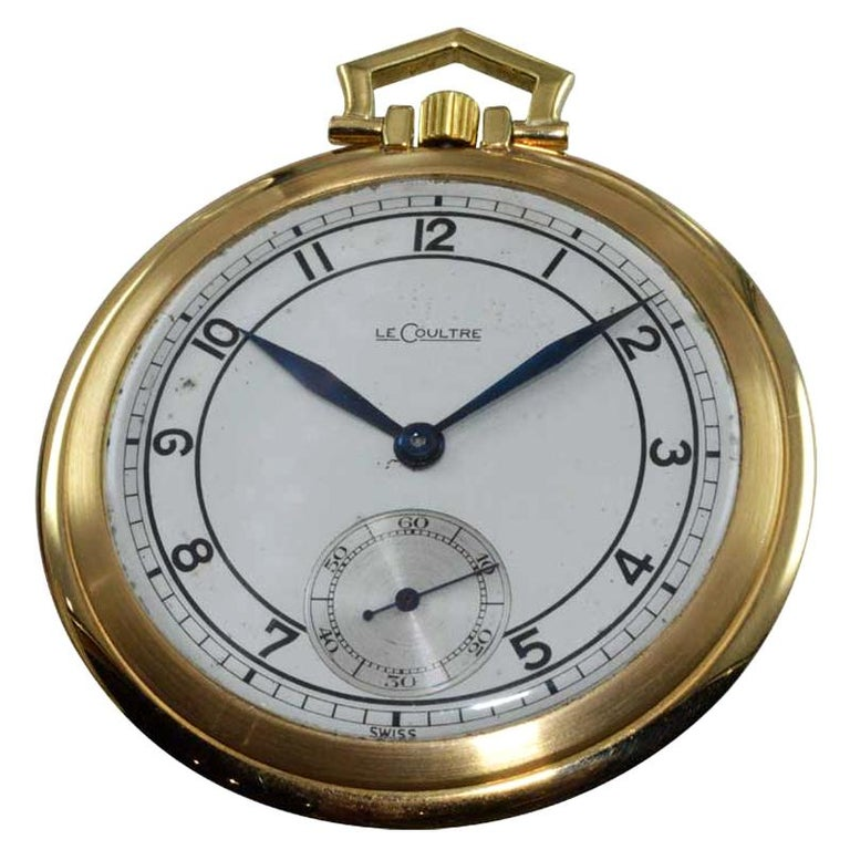 LeCoultre 18 Karat Gold Midcentury Pocket Watch Original Sterling Silver Dial For Sale