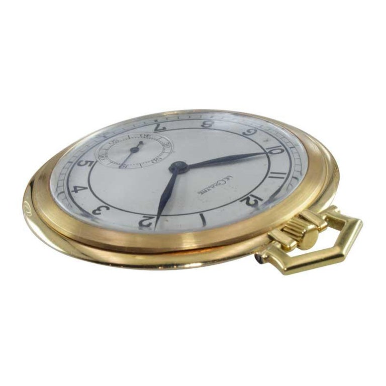 Art Deco LeCoultre 18 Karat Gold Midcentury Pocket Watch Original Sterling Silver Dial For Sale