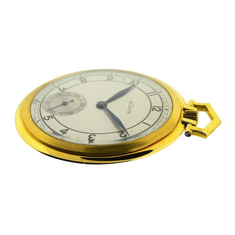 LeCoultre 18 Karat Gold Midcentury Pocket Watch Original Sterling Silver Dial For Sale 2