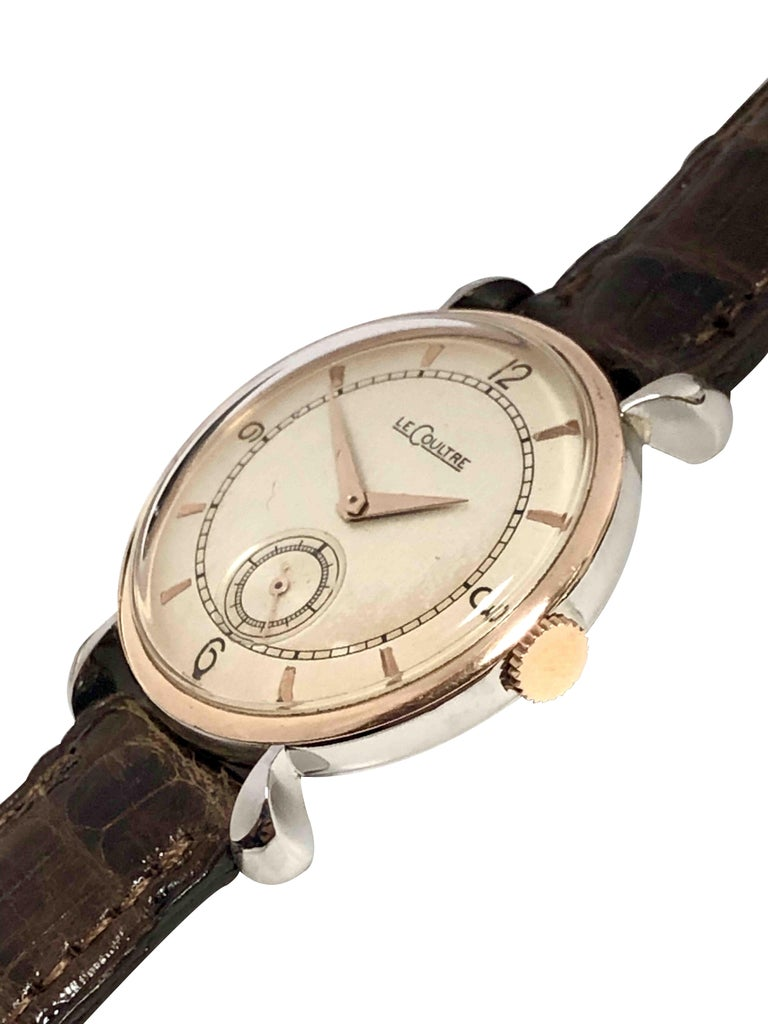 LeCoultre 1940s Steel and Rose Gold Mechanical Wristwatch In Excellent Condition For Sale In Chicago, IL