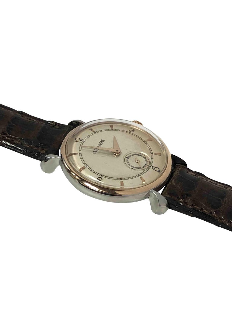 Women's or Men's LeCoultre 1940s Steel and Rose Gold Mechanical Wristwatch For Sale