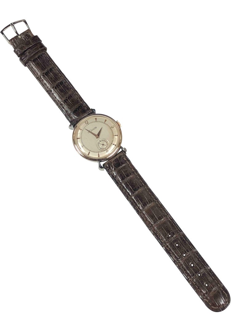 LeCoultre 1940s Steel and Rose Gold Mechanical Wristwatch For Sale 1