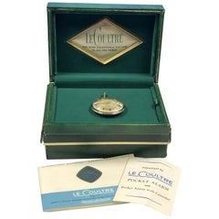 LeCoultre 1960s Memodate Alarm Mechanical Pocket Watch New Old Stock Never Worn