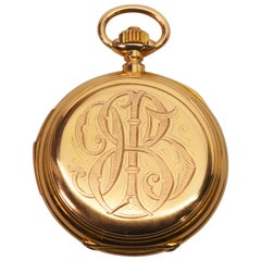 LeCoultre & Co. 18 Karat Yellow Gold Quarter Hour Repeater Pocket Watch