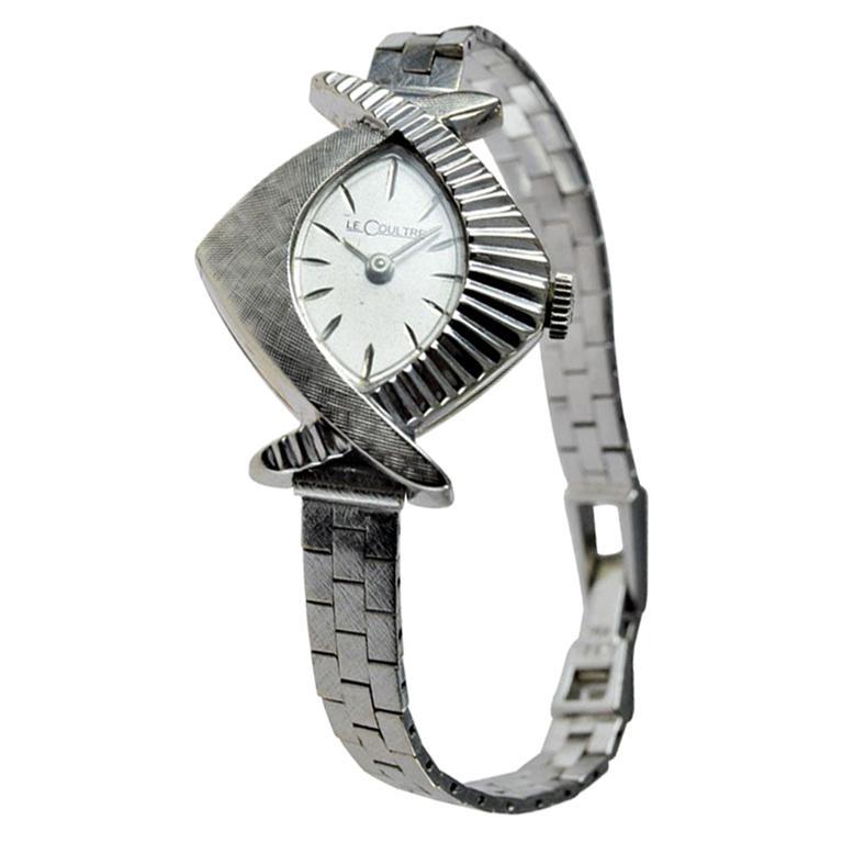 LeCoultre Ladies 14 Karat White Gold Midcentury Watch with Original Bracelet