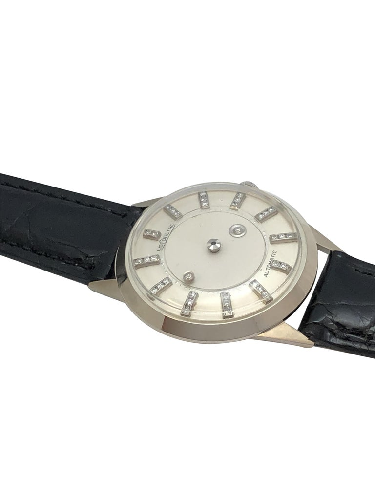 Round Cut LeCoultre Mystery Dial White Gold and Diamond Automatic Wristwatch For Sale