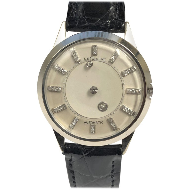 LeCoultre Mystery Dial White Gold and Diamond Automatic Wristwatch For Sale