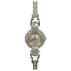 LeCoultre Vintage Ladies Platinum Gold and Diamond Mechanical Cocktail Bracelet