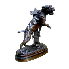 Lecourtier 1878 Bronze Dog Sculpture Beware of Dog 19th Century French Guard Dog
