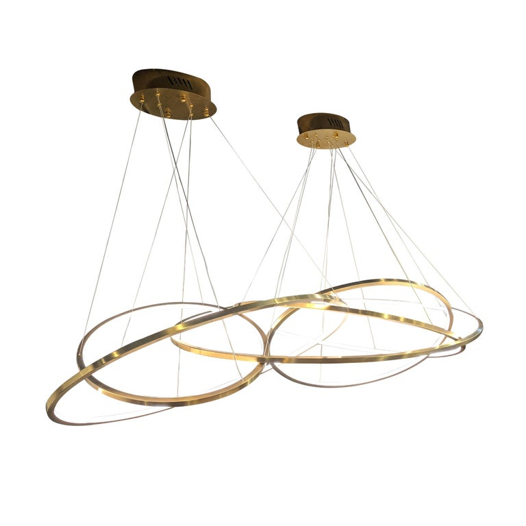 Modern LED Oval Rings Five Horizontal Chandelier Pendant Light in Gold Contemporary For Sale