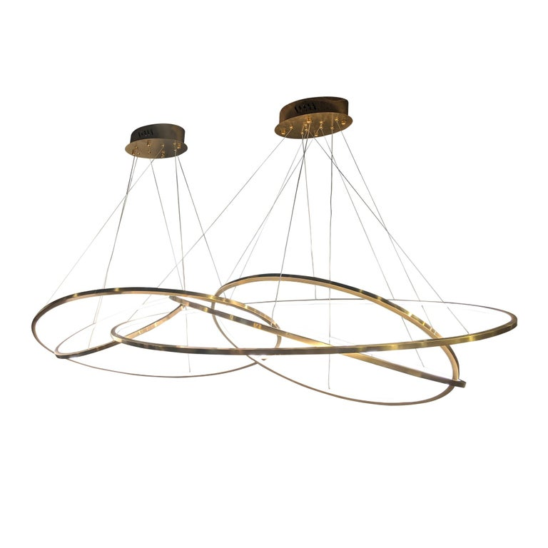 Plated LED Oval Rings Five Horizontal Chandelier Pendant Light in Gold Contemporary For Sale