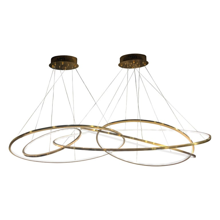 LED Oval Rings Five Horizontal Chandelier Pendant Light in Gold Contemporary For Sale